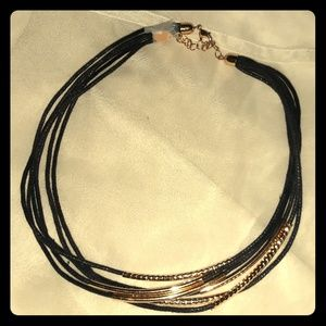 Classy Multi strand gold chord adjustable necklace
